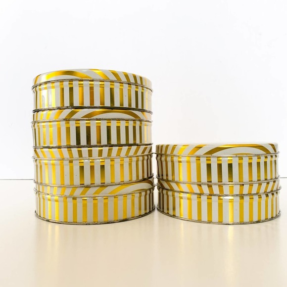 Vintage Gold Striped Tins with Lids